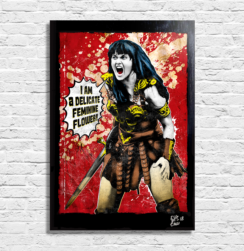 Lucy Lawless Xena Poster Pop Art Handmade Quadro by Arthole.it