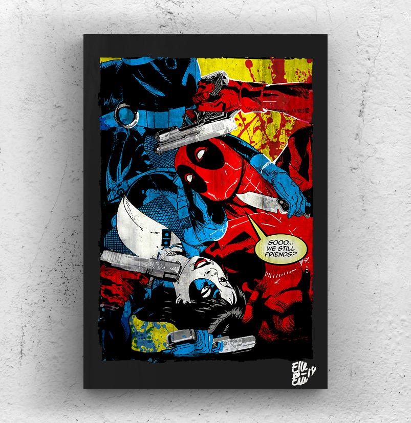 Deadpool vs Domino, Quadro originale su legno Artwork on wood 35x50cm