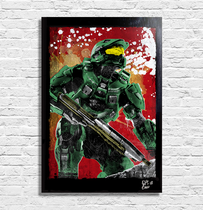 Master Chief from Halo Videogames Pop Art Poster Artwork Handmade