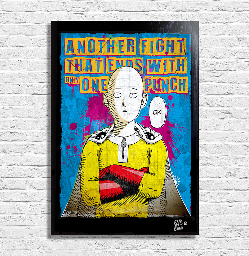 Saitama from One Punch Man Anime Manga Pop Art Poster Quadro Originale handmade Arthole.it